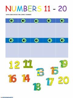 Ficha interactiva Numbers 11 to 20