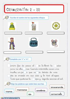 Interactive worksheet Ortografía con r