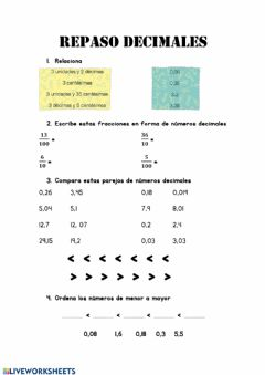 Interactive worksheet Repaso decimales