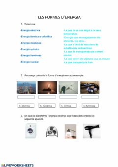 Interactive worksheet Activitat fonts d'energia