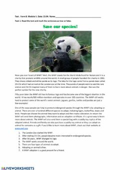 Interactive worksheet Save our Species!