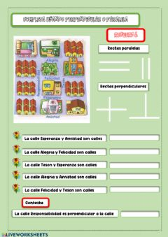 Interactive worksheet Lineas paralelas y perpendiculares