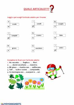 Interactive worksheet QUALE ARTICOLO?