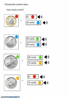 Interactive worksheet Match coins with colours