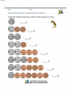 Interactive worksheet Counting Nickels and Pennies 1