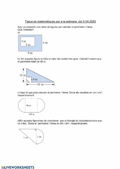 Interactive worksheet Àrees de les figures planes