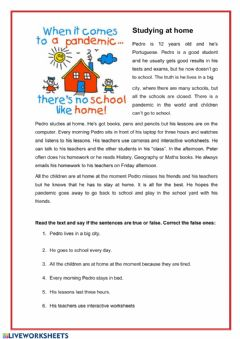 Interactive worksheet Studying at home