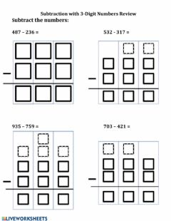 Interactive worksheet Subtraction - 3 digit