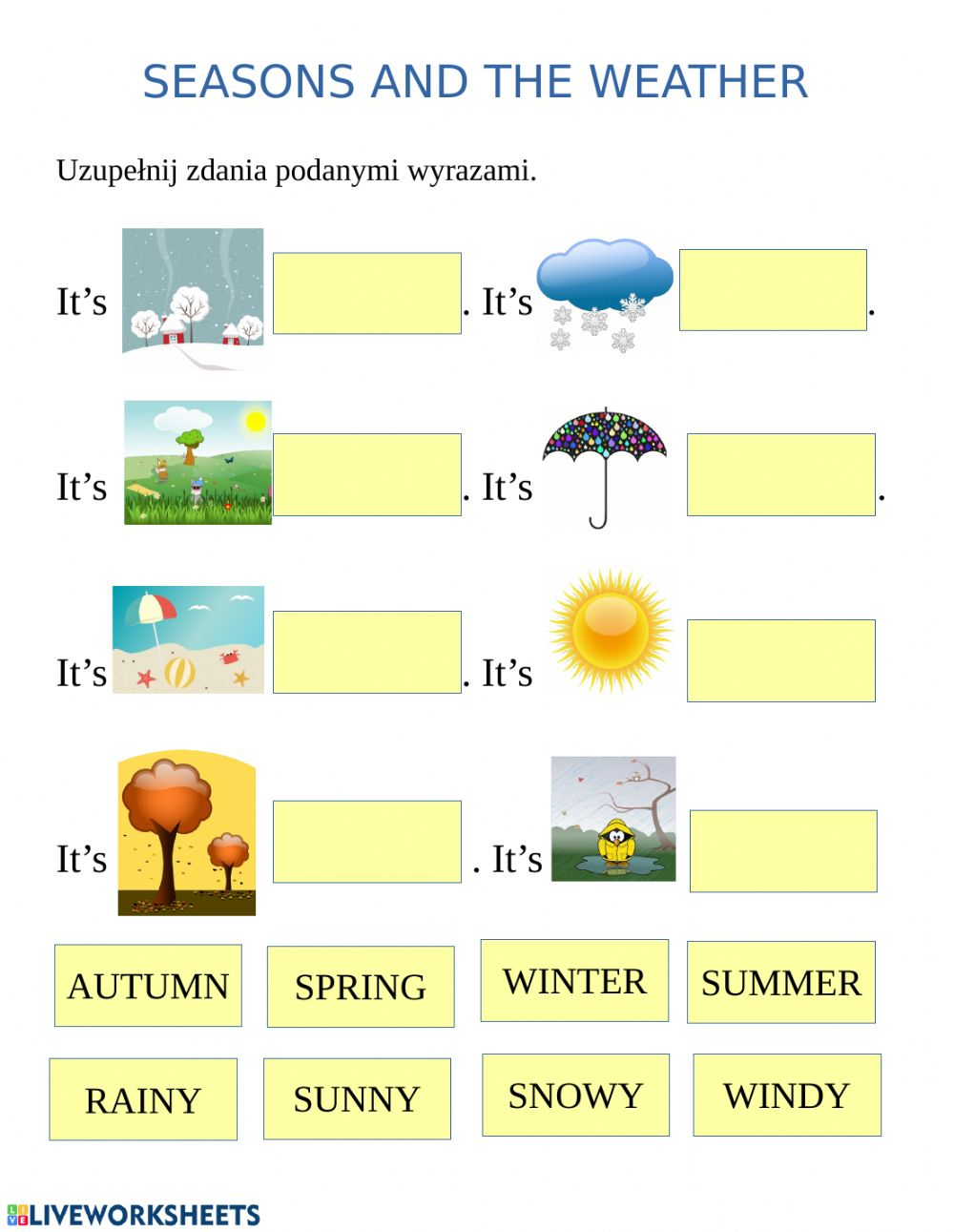 Seasons And Weather Interactive Worksheet