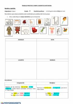 Interactive worksheet Comparaciones y  metaforas