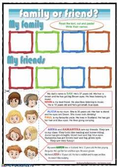 Interactive worksheet Family or friend?