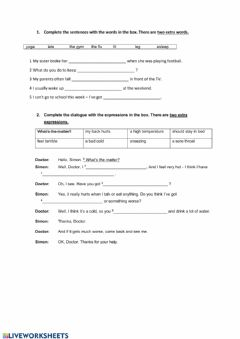 Interactive worksheet Test English Class A2+ unit 6