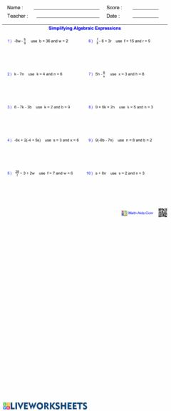 Ficha interactiva Simplifying Algebraic Expressions