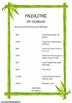 Interactive worksheet Paleolithic key vocabulary