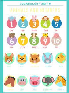 Interactive worksheet Numbers and animals