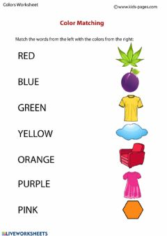 Interactive worksheet Matching Colors 2