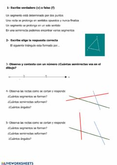 Interactive worksheet Rectas, semirrectas, segmentos