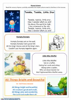 Interactive worksheet Rhyme scheme