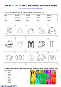Interactive worksheet What colour am I wearing?-Bounce Patrol song