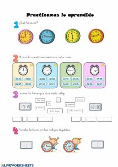 Interactive worksheet Reloj digital y analógico