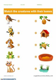 Interactive worksheet Animals and their HOMES