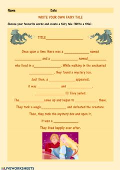 Interactive worksheet Make your own fairy tale.