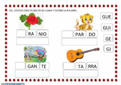 Interactive worksheet Letra g