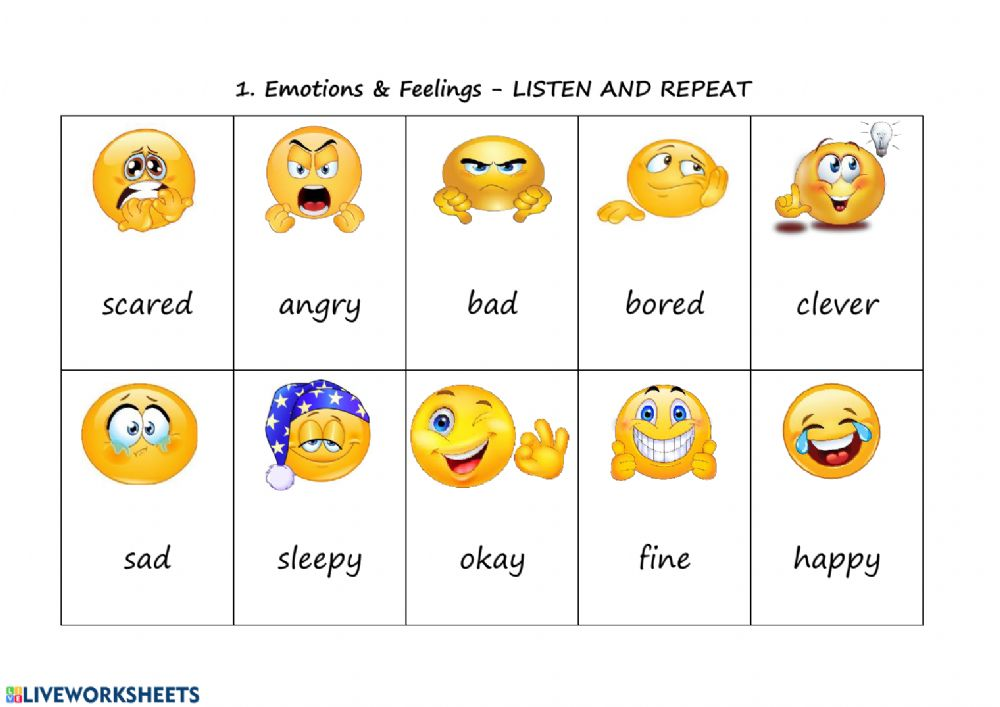 1. Emotions and feelings - LISTEN AND REPEAT - Interactive worksheet