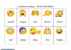 Interactive worksheet 1. Emotions and feelings - LISTEN AND REPEAT