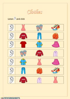 Interactive worksheet Clothes 1º