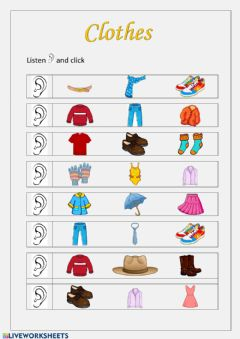 Interactive worksheet Clothes 2º
