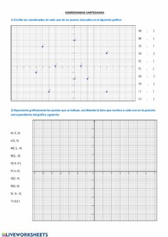 Interactive worksheet Coordenadas cartesianas