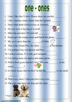 Interactive worksheet One or Ones