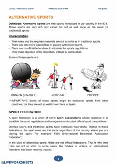 Interactive worksheet 6th grade Theory - Unit 11 - Alternative sports - 01 to 04