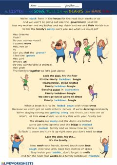 Interactive worksheet Covid boogie - easier