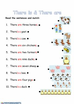 Interactive worksheet Reading - There is & There are (with farm animals)