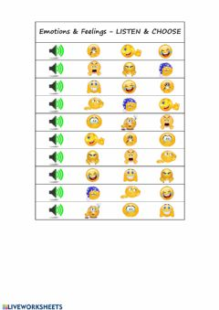 Interactive worksheet Emotions and feelings - LISTEN & CHOOSE