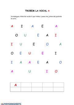 Interactive worksheet Trobem la vocal A