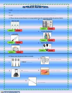Interactive worksheet Things in the kitchen