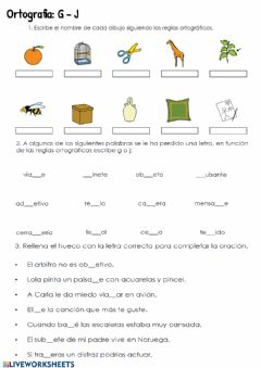 Interactive worksheet Ortografía. G-J