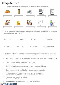 Interactive worksheet Ortografía. M-N