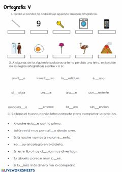 Interactive worksheet Ortografía. B-V