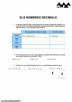 Ficha interactiva Divisons de decimals