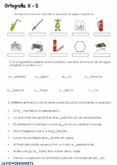 Interactive worksheet Ortografía. S-X