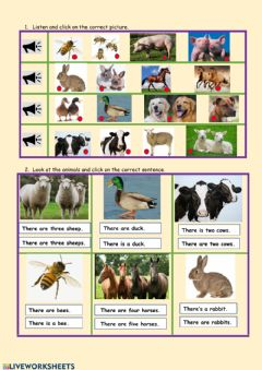 Interactive worksheet There are farm animals.