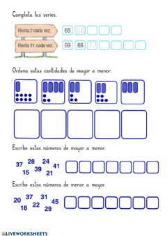 Interactive worksheet Completa estas series