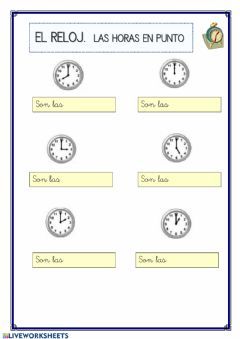 Interactive worksheet Las horas en punto