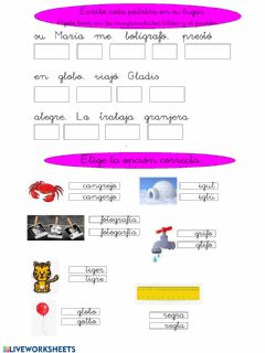 Interactive worksheet Trabadas gl y gr