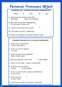 Interactive worksheet Personal Pronouns Object