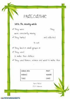 Interactive worksheet Paleolithic missing words